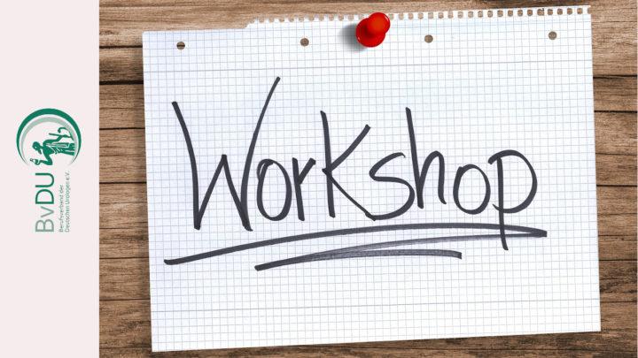 """""""Workshop"""" auf ausgerissener Seite vom Collegeblock an eine Holzwand gepinnt"""