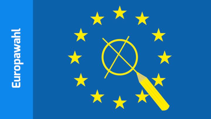 Europasymbol, Kreis goldener Sternchen auf blauem Grund. In der Mitte ein angekreuzter Kreis mit Bleistift