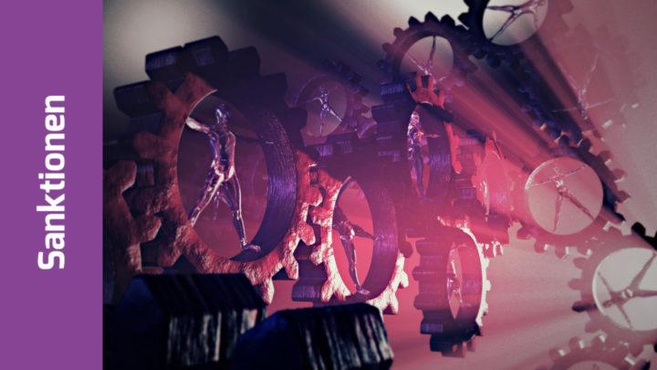 """Zahnräder, die ineinanderfassen. In jedem Zahnrad steht eine metallisch glänzende Person in der Haltung des """"Vitruvianischen Menschen"""" von Da Vinci"""