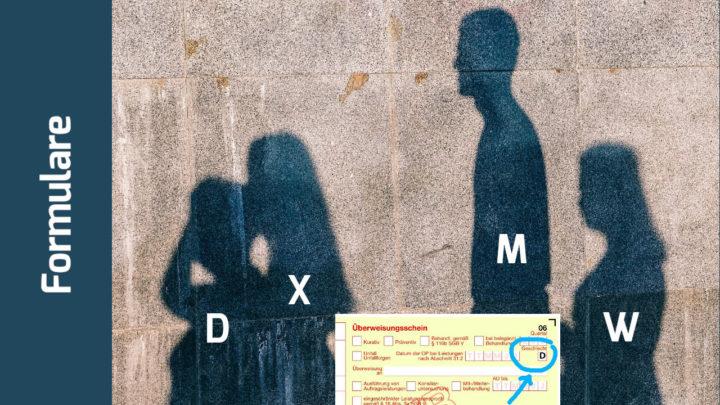 Personen als Schatten an der Wand, gekennzeichnet mit den Buchstaben D, X, Mund W