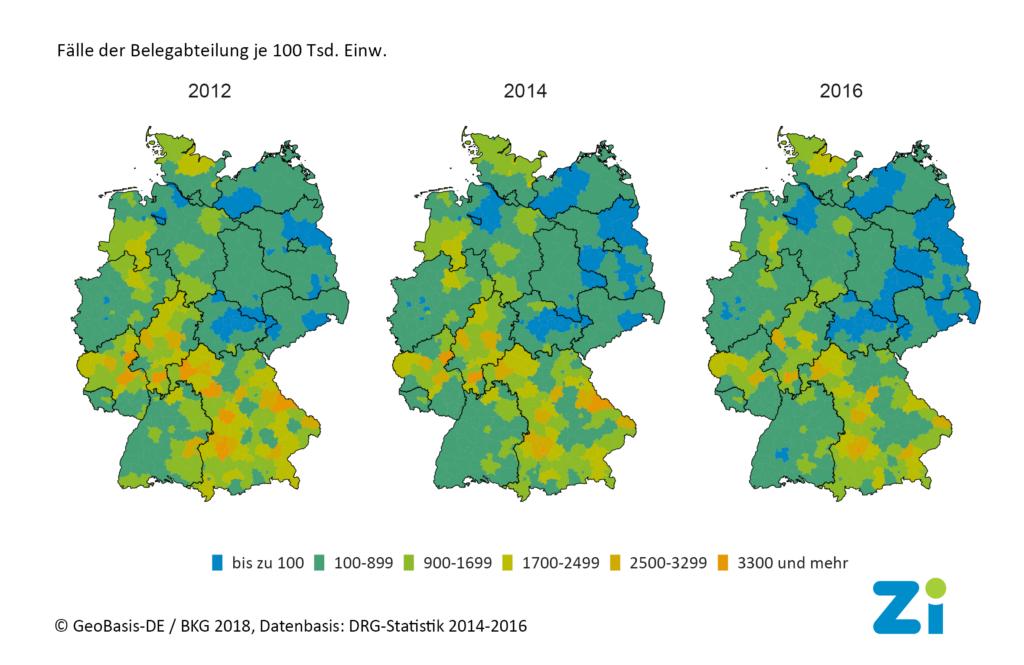 Grafik der Belegarztleistungen auf Datenbasis der DRG-Statistik von 2014 bis 2016