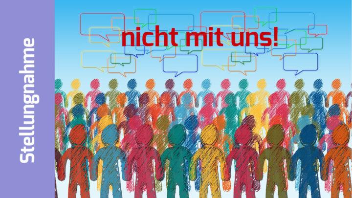 """Illustration: Viele bunte Menschen, darüber Sprechblasen: """"nicht mit uns!"""""""