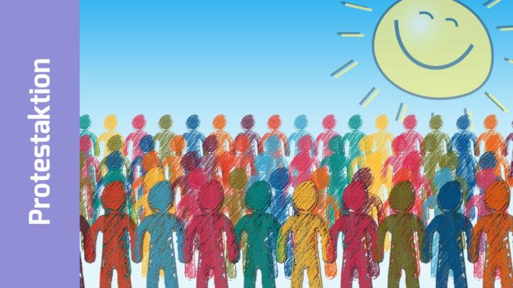 Illustration: Viele bunte Menschen, darüber eine durchscheinende lächelnde Sonne mit Strahlenkranz