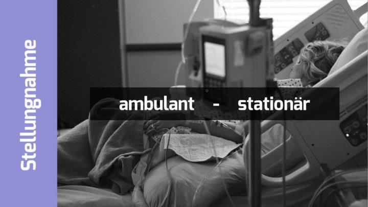 """Patientin im Krankenhausbett """"Stellungnahme. ambulant - stationär"""""""