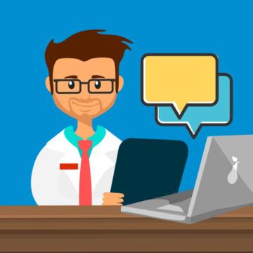 Farbenfrohe Illustration: Arzt sitzt am Laptop, aus dem Sprechblasen aufsteigen