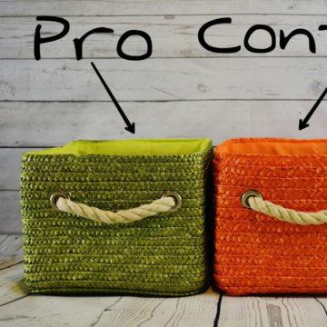 Stellungnahme: 2 Körbe. 1 für Pro und 1 für Contra