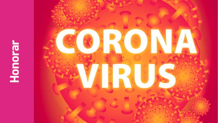 """Schriftzug """"Corona-Virus"""". Virus-Illustrationen im Hintergrund"""