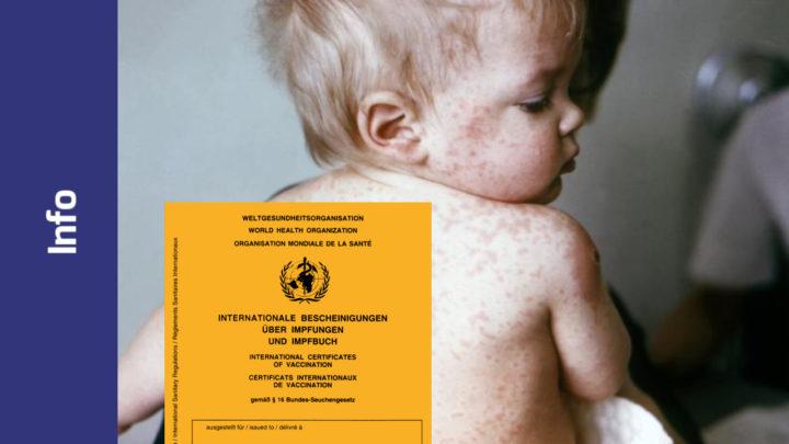 Kleinkind mit Masernausschlag. Im Vordergrund ein Impfpass