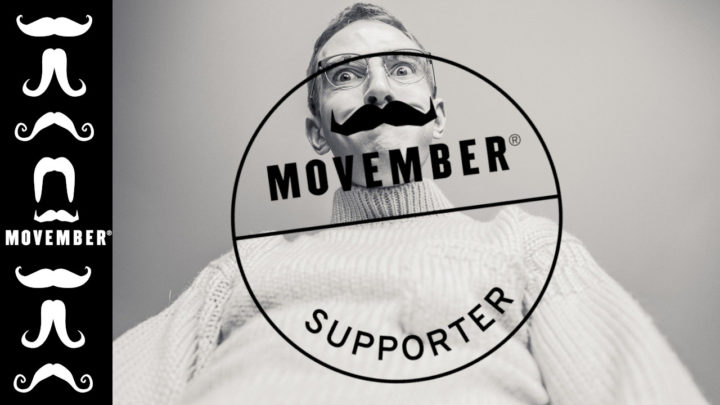 Mann hinter dem Movember-Supporter-Logo der Movember Foundation