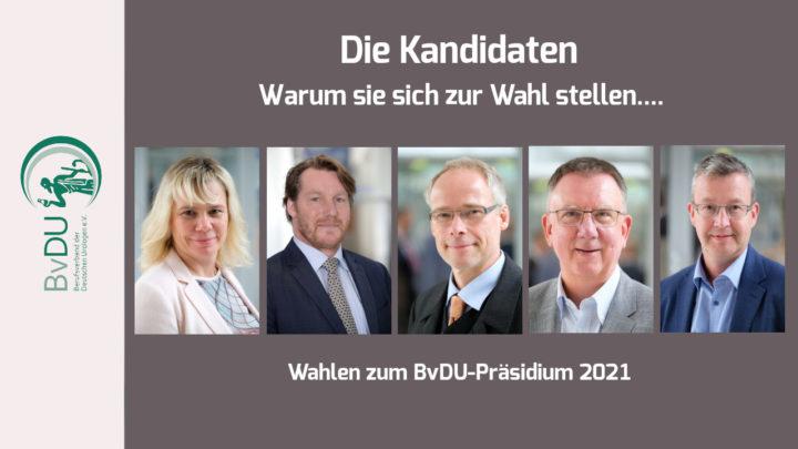 Wahlen zum BvDU-Präsidium im Rahmen der Mitgliederversammlung 2021